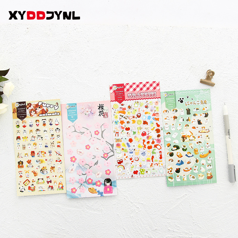 Lovely 1 Sheet PVC Stickers for Diary Scrapbook Notebooks Decoration Stationery Sticker Cartoon Packing Label School Supply