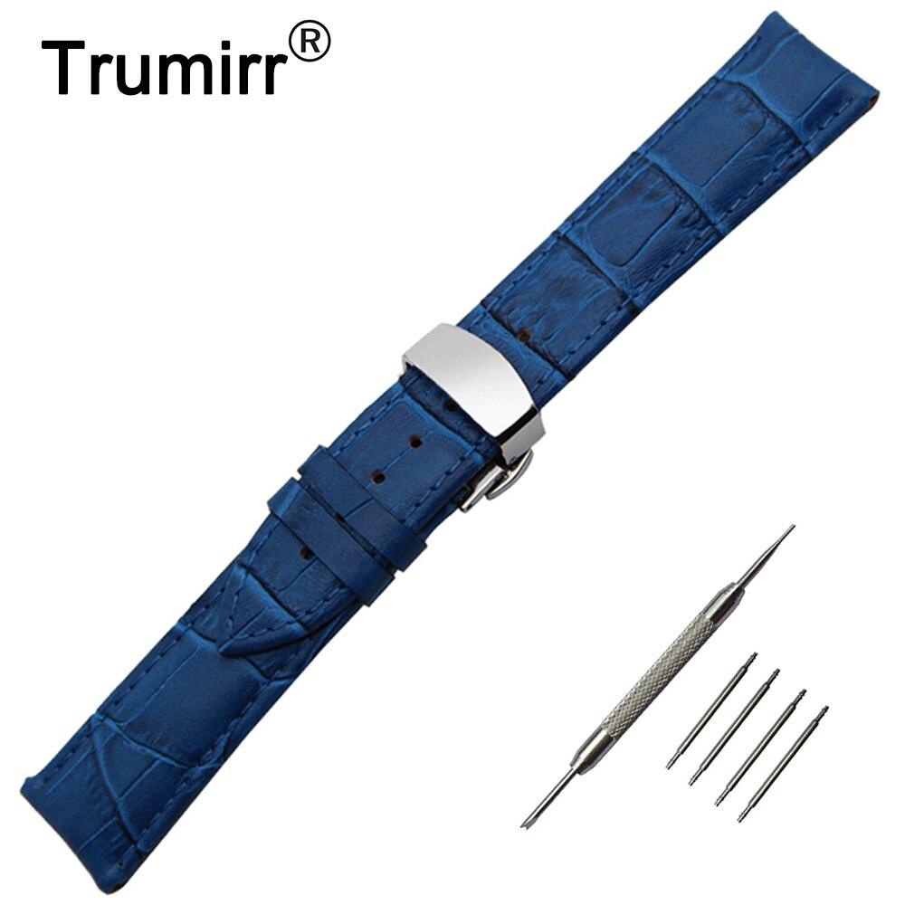 Genuine Leather Watch Band +Tool for Orient Men Women Steel Butterfly Clasp Strap Wrist Bracelet 14/16/17/18/19/20/21/22/23/24mm