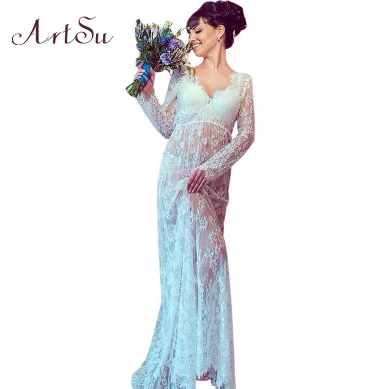 ArtSu Women 2020 <font><b>Sexy</b></font> V-neck Long Sleeve Long Lace <font><b>Dress</b></font> Summer Floral Maxi Vestidos Mujer Plus <font><b>Sexy</b></font> Black White Red <font><b>4XL</b></font> DR5046 image