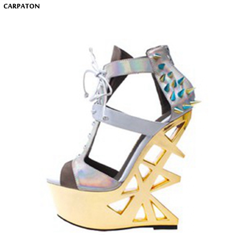 Carpaton Patent Leather High Platform Hoof Heels Women Sandals Singer Party Dress Shoes Nightclub Shoes Peep Toe Ankle Strap 20cm high height sex shoes pu platform hoof heels high heels no wg10b