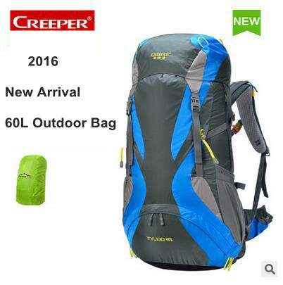 ФОТО 2016 New CREEPER 60L mountain Travel bag Mountaineering Backpack Men 60L waterproof camping Climbing Bag 60L Rucksacks Men