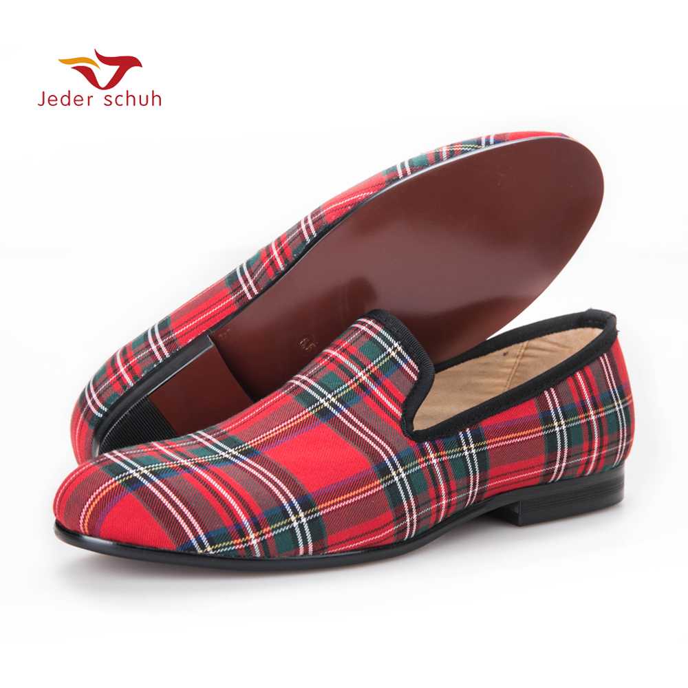 Scotch plaids Fabric Men shoes Men Red and Blue Casual loafers Men Flats Size US 6
