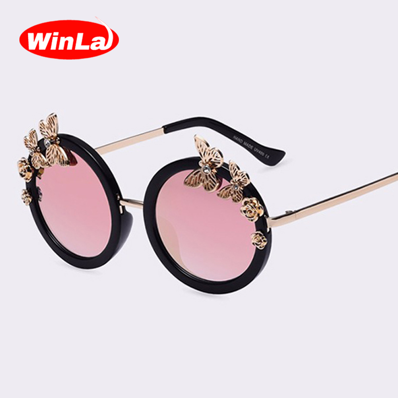 bda343d088e Winla Lunettes de Soleil New Mode Femmes lunettes de Soleil Lunettes Rondes  Anti-Réfléchissant Miroir Papillon Décoration Eyewears Oculos UV400