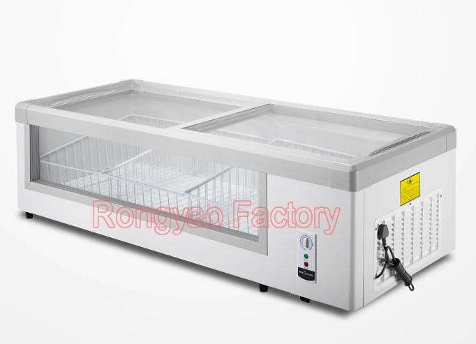 horizontal single temperature freezers refrigerated display cabinets full sliding glass freezer. Black Bedroom Furniture Sets. Home Design Ideas