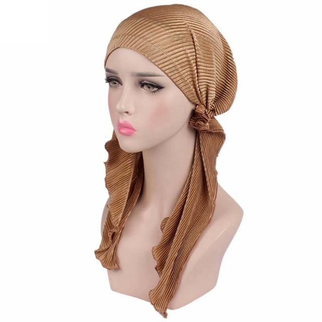 New Women Ruffle Headscarf Chemo Hat Turban Head Scarves Pre-Tied Headwear  Bandana Tichel for 7c302d77fd56