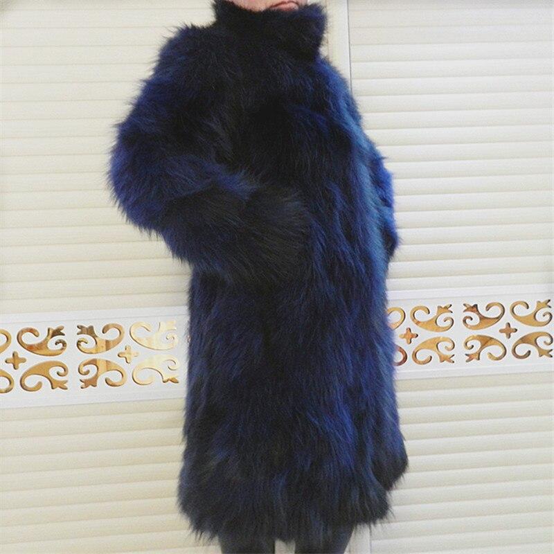 Hakiki Deri Ceket Rakun Ceket Uzun Ceket Uzun Kollu Kalın sıcak - Bayan Giyimi - Fotoğraf 5