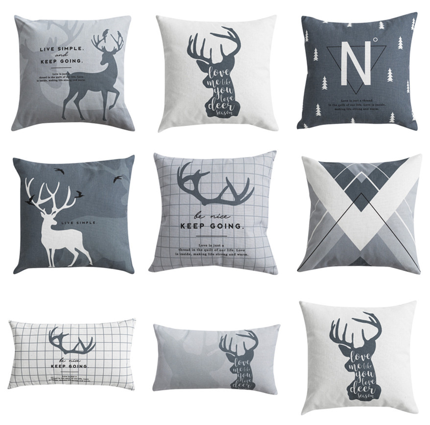 Nordic Style Cushions Decorative Pillow Cover Deer Grey Black Throw Pillows Case Geometric Cushions Cover For Sofa 45x45 Cushion Cover Aliexpress