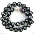 "10mm Black AB South Sea Shell Pearl Necklace 18"" AAA+"