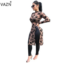 VAZN 2018 New Arrive Famous Brand Casual Dress Full Sleeve Print Dresses O-Neck Sexy Mini Bandage Dress D8075