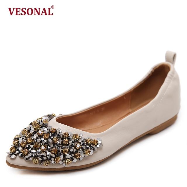 cc2379d82f8 VESONAL 2018 summer Luxury Crystal pointe Top Ballet Flats women shoes Slip  On fashion Casual soft ladies female footwear