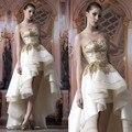 Гламурная Свадебные Line Золото Аппликация Свадебное Платье Из Органзы Короткие Передний Длиннее Заднее Платье