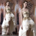 Glamorous Bridal A Line Gold Appliqued Organza Wedding Dress Short Front Long Back Gown