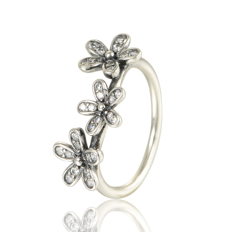 100 925 Silver Daisy Ring With Cubic Zirconia Stering Sterling Silver Rings For Women Free Shipping