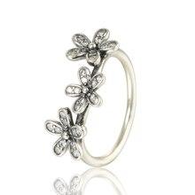100% 925 de plata anillo margarita con Cubic Zirconia Stering-Sterling-Silver para mujeres que envían libremente
