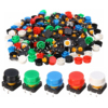 100pcs Plastic Tactile Switch PCB Tact Push Button Momentary Switch 4 Pins 5 Color Button Cap