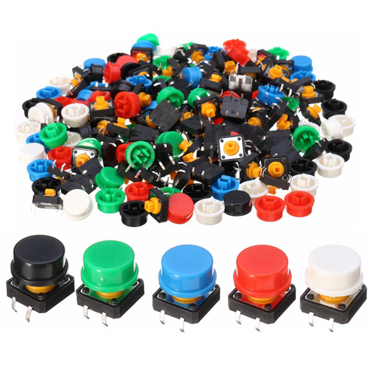100pcs Plastic Tactile Switch PCB Tact Push Button Momentary Switch 4 Pins + 5 Color Button Cap 12*12*7.3mm Mayitr