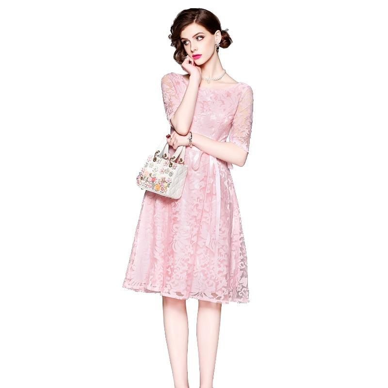 e4960813ddc 2018 New Arrival Pink Lace Dress Women Feminine Short Sleeve Elegant Ladies  Spring Summer Dress Bridesmai Vestidos Party Dresses