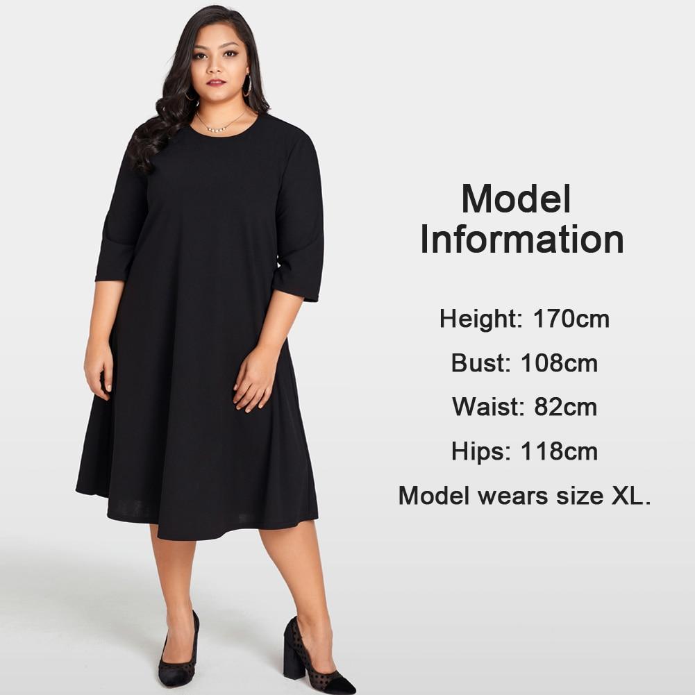 Elegant Women Plus Size Dress O Neck 3 4 Sleeve Back Sheer Lace Splice  Black Dress Solid Large Size Loose Female Dress Oversize-in Dresses from  Women s ... 7d730b876ad6
