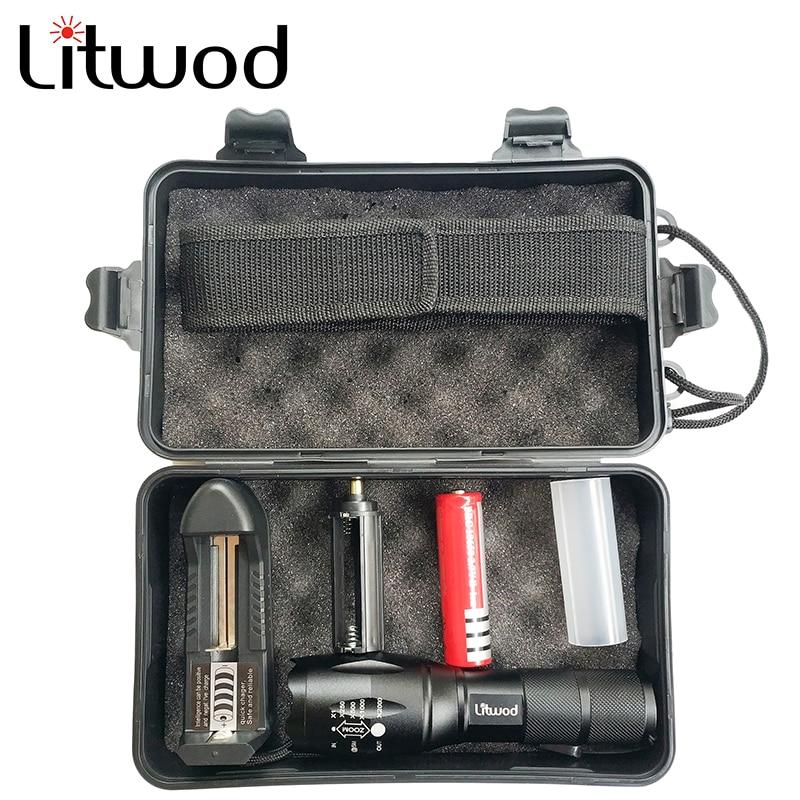 Litwod LED Latarka taktyczna latarka XML L2 wodoodporna 5000lm zoom 5 trybów przełącznika Aluminiowa lampa rowerowa Do jazdy na rowerze kemping