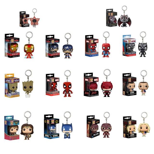 Funko POP Marvel Avengers & Coisas Estranhas Mulher Maravilha Batman flash Grootted dragão Figuras de Ação Brinquedos para crianças com caixa