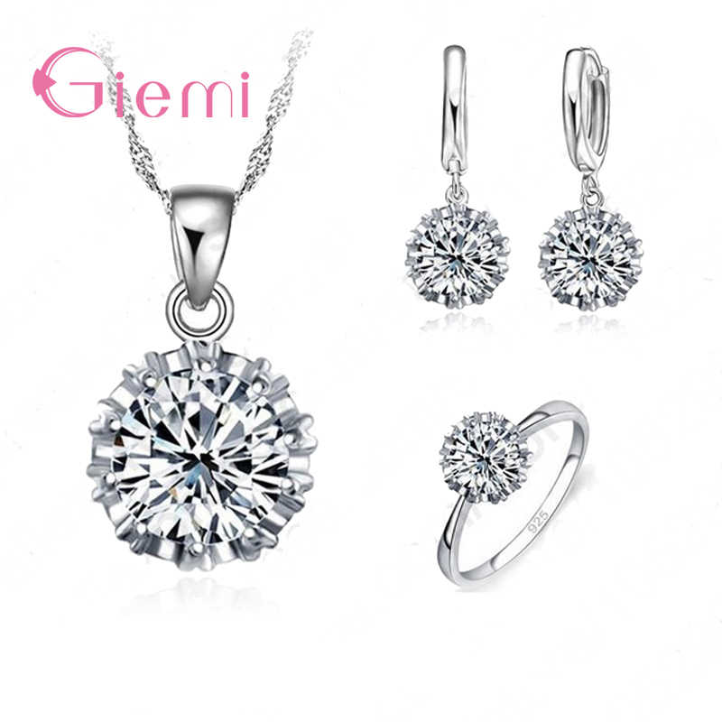 Fancy Women Wedding Accessory Pure 925 Sterling Silver Jewelry Sets Big White Cubic Zirconia Necklace/ Earring/ Ring Set
