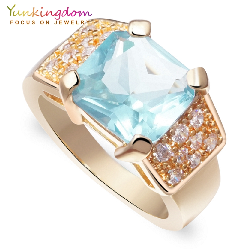 Yunkingdom Wedding CZ Rings for Women Fashion Crystals Wholesale Square Party Jewelry