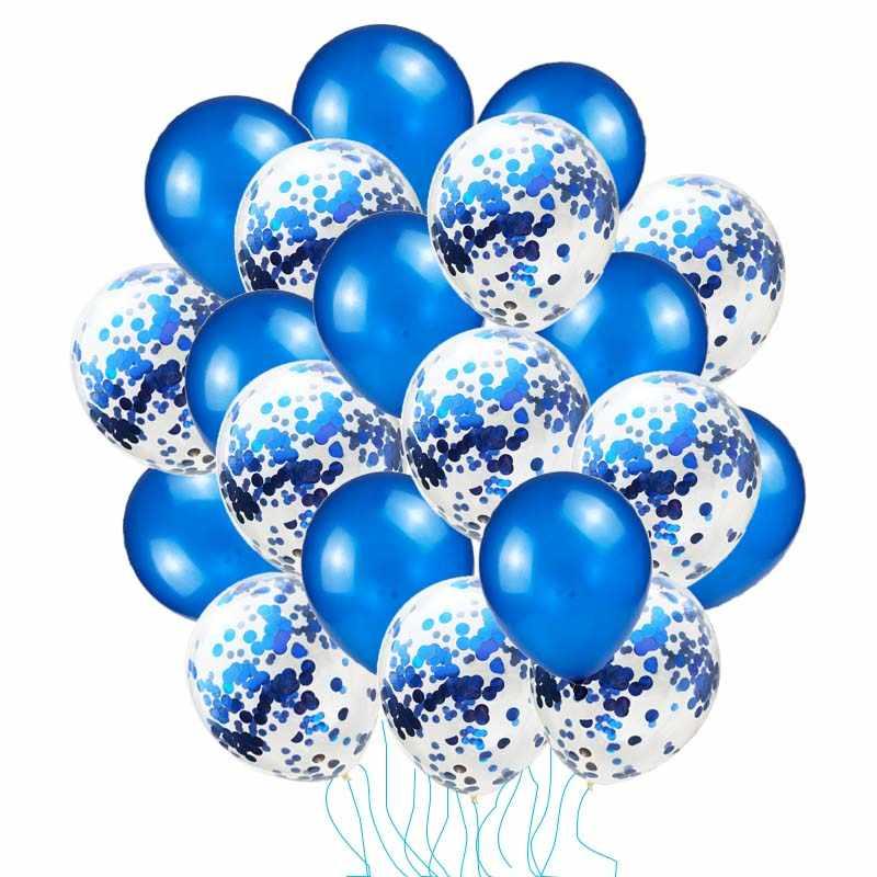20 шт., синие воздушные шары, декоративные шары на день рождения, гелиевые конфетти, красные шары, украшения на день рождения, золотые шары для детей S1XN