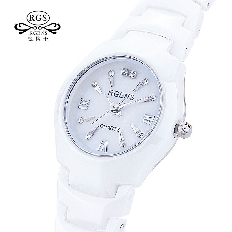 RGENS brand official woman watches womens quartz wristwatches 100% ceramic white 30m waterproof diamond calendar ladies clocks