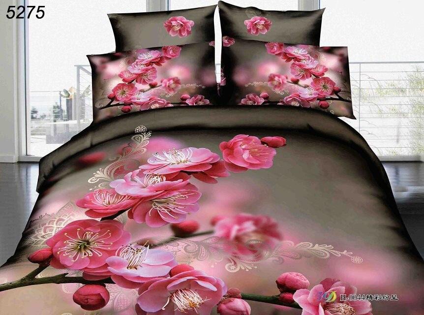 3d Peach Blossom Bedding Set 100% Cotton Bedclothes Roses