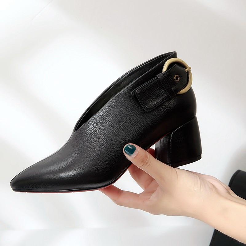 Pompes Vintage Chaussures Talons Originale Lady Cuir New Black brown Haute Bout Vache En Femmes Luxe Office Conception De Marque Pointu qCI4w