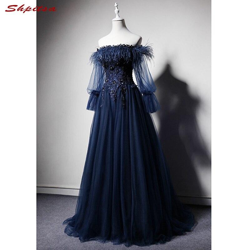Bleu marine manches longues dentelle robes de soirée fête Off Shouler une ligne belles dames femmes bal formel robes de soirée robes