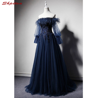 Navy Blue Long Sleeve Lace Evening Dresses Party Off Shouler A Line Beautiful Ladies Women Prom Formal Evening Gowns Dresses