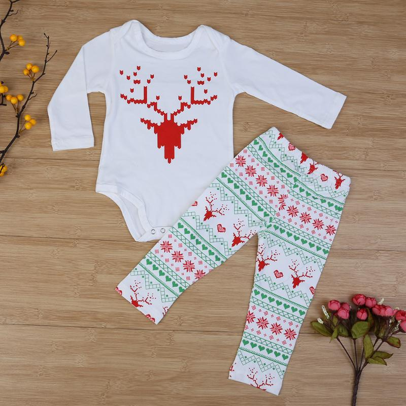 Christmas Newborn Baby Girl Boy Outfits Deer Romper Tops+Pants Leggings baby boys Girls clothes newborn infant 2pcs suit