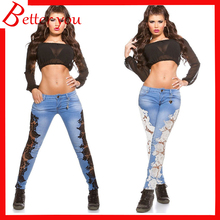цены на 2019 New hot sale jeans woman lace openwork hole denim trousers pants women Pencil pants  в интернет-магазинах