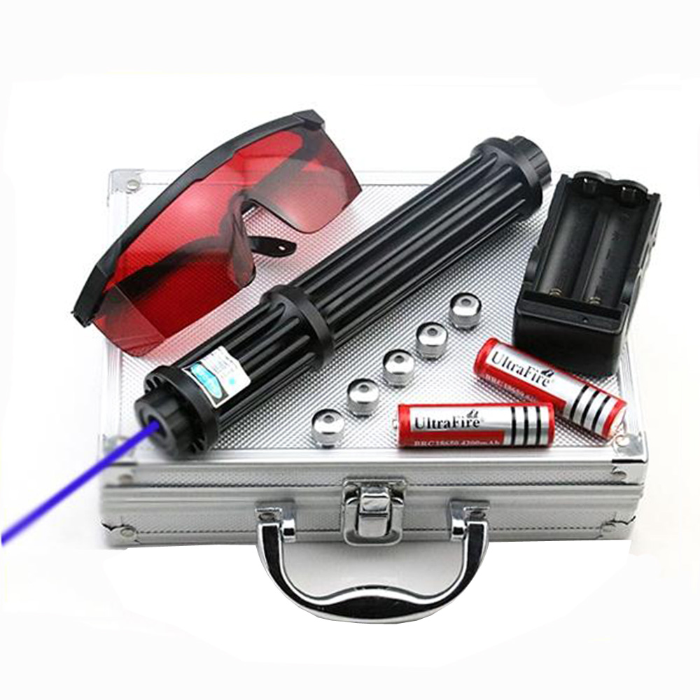 Alta Potência 1.6.w Alongar vista Lazer Lanterna Ponteiros Laser Azul 450nm Fósforo Aceso/Queimar charutos luz/vela/ caça