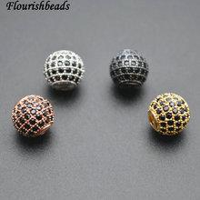 Различные цвета с черными фианитами металлические медные круглые Распорки свободные бусины DIY ювелирных изделий 6 мм 8 мм 10 мм