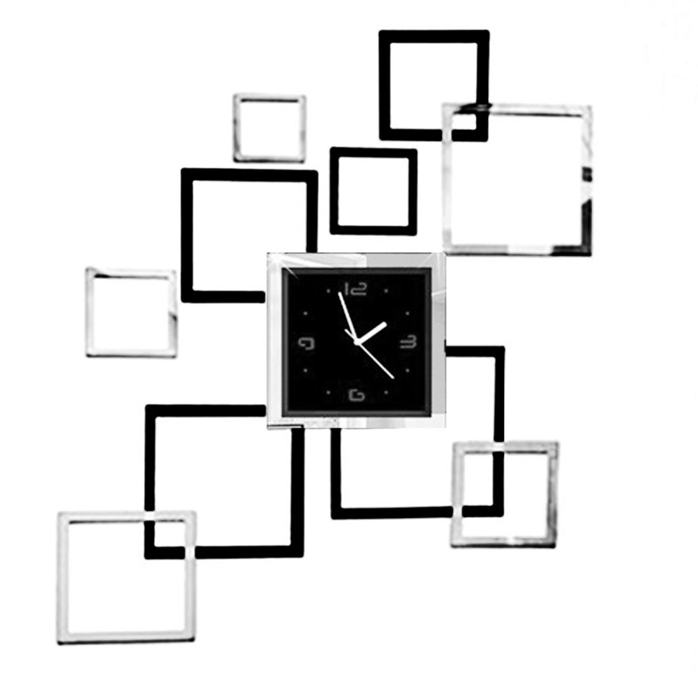 Diseño moderno Rectángulo Cuadrado Reloj de Pared 3D Espejo ...