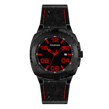 Ananke Men Black Army Military Watches Business Quartz Date Clock  Leather Sports Number Display Timepiece Relogio Masculino