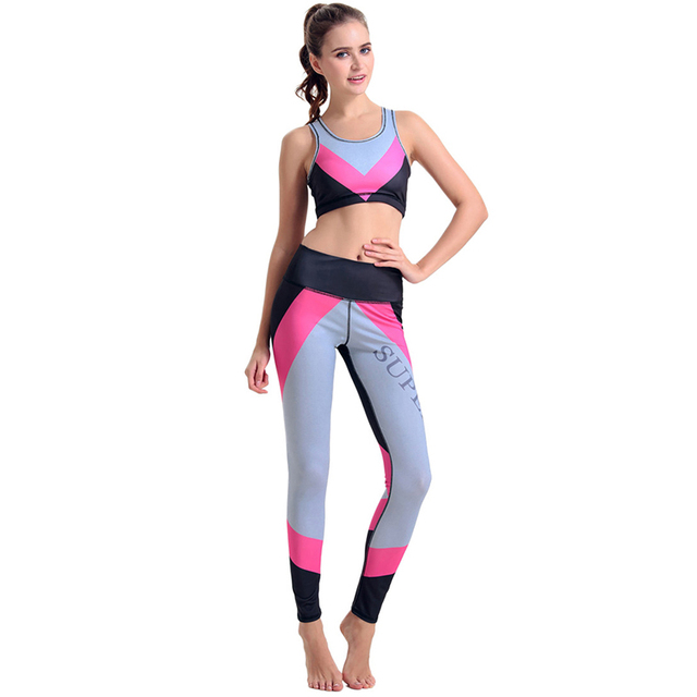 37587f9666a Breathable Women s Sport Yoga Sets Gym running Workout Clothes Sports Pants  Bras Suits Sportswear Sleeveless Top Fitness Pants