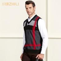 High Quality 100% Cashmere Mens V Neck Sleeveless Argyle Sweater Vest 2018 New Fashion