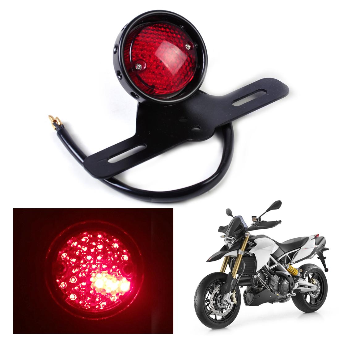 DWCX Motorcycle LED Retro Red Rear Tail Brake Stop Light Lamp W/ License Plate Mount for Harley Honda Suzuki Chopper Bobber