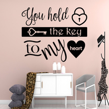 Lovely the key to my heart Art Sticker Waterproof Wall Stickers Kids Room Nature Decor Home Party Wallpaper