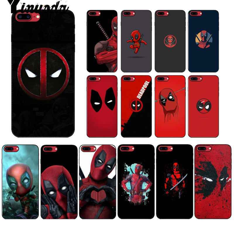 Yinuoda Marvel Hero Deadpool funda inteligente carcasa blanda negra para iPhone 6S 6plus 7 7plus 8 plus X Xs X MAX 5 5S XR