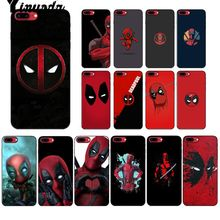 Yinuoda Marvel Hero Deadpool Smart Cover Black Soft Shell Phone Case for iPhone 6S 6plus 7 7plus 8 8Plus X Xs MAX 5 5S XR