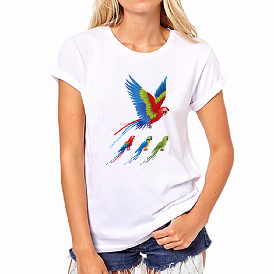 2016 Casual Women Round Neck T-shirt Colored Bird Print Short Sleeved Women White Top Shirt NFS-YH32