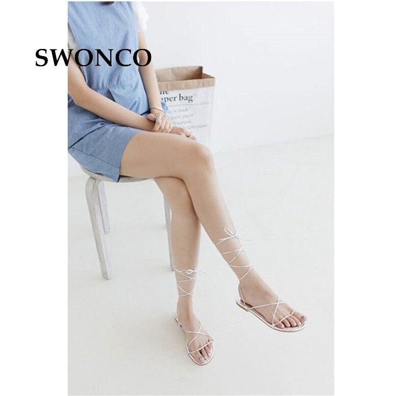 D'été Croix attaché Plat Fille Sandales Swonco Beige black Chaussures Plage Petit white Femmes 2018 40 De Taille Mode 32 Gladiateur YI1fqB