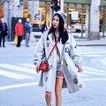 MX117 Новое Прибытие Осень 2016 мода вышитые патч дизайн светло-голубой хлопок повседневная свободные длинные траншеи пальто женщин