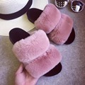 spring autumn women sandals fluffy stuffed a word procrastinates thick bottom plush slippers female indoor and outdoor wet shoes