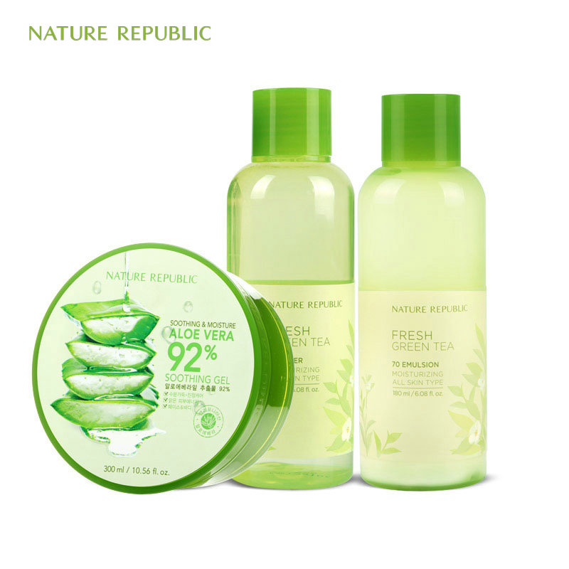 Nature Republic Fresh Green Tea 70 Toner 70 Emulsion Aloe Vera Moisturizing Control Oil Soothe Skin Korean Skin Care SetNature Republic Fresh Green Tea 70 Toner 70 Emulsion Aloe Vera Moisturizing Control Oil Soothe Skin Korean Skin Care Set