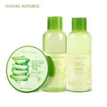 Nature Republic Fresh Green Tea Toner Emulsion Aloe Vera Moisturizing Control Oil Soothe Skin Korean Care Set